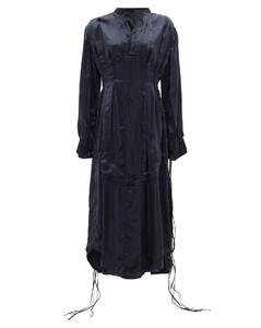Tasselled-sleeves silk midi dress