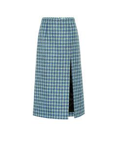 格纹羊毛铅笔半身裙
