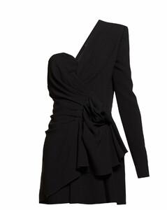 Asymmetric gathered crepe mini dress