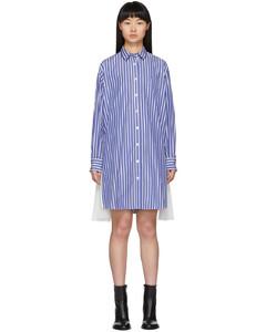 蓝色府绸衬衫连衣裙