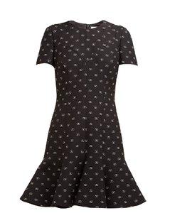 Go Logo-print flared-hem wool-blend dress