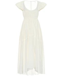 真丝茧绸加长连衣裙