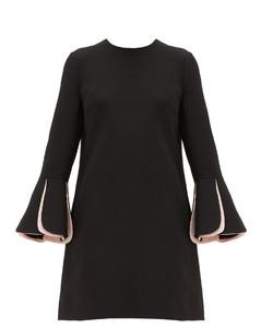 Fluted-sleeve wool-blend crepe mini dress