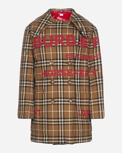 Horseferry logo and check print quilted pea coat