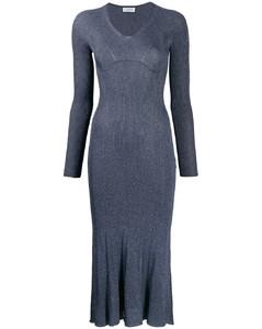 金属感缝线中长连衣裙