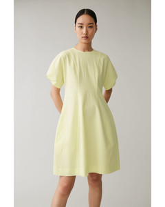 COTTON PUFF SLEEVE SEERSUCKER DRESS