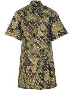 短袖经典印花衬衫裙