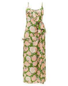 Ruffled floral-print silk-jacquard dress