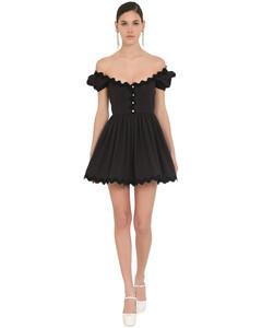Off Shoulder Cotton Poplin Mini Dress