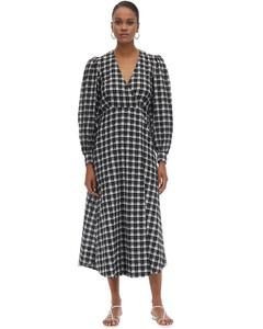 Check Seersucker Midi Dress