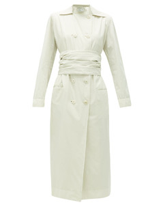 Belted cotton-poplin trench dress