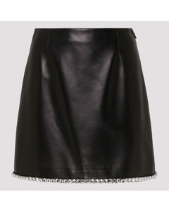 Black leather skirt with crystals