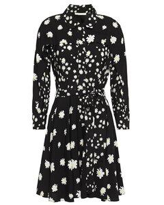 Floral-print crepe mini shirt dress