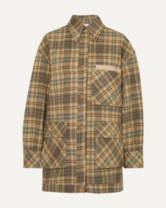 Dena大廓形纯素皮革边饰格纹羊毛外套