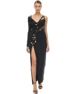 Long Draped Tulle & Crepe Dress W/pins