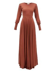 Bias-cut pleated-sleeve modal-jersey maxi dress