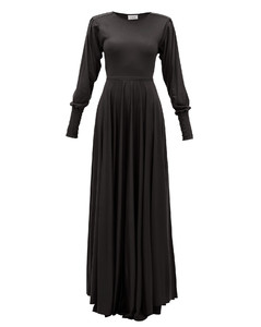 Pleated-sleeve bias-cut modal-jersey maxi dress