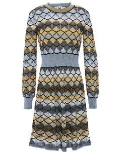 Flared crochet-knit wool-blend mini dress