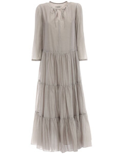 Ruffled Cotton & Silk Long Dress