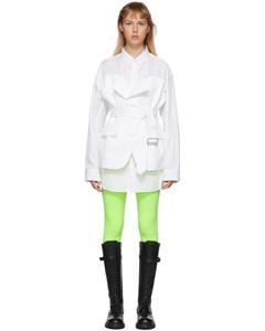 白色拼接式衬衫连衣裙