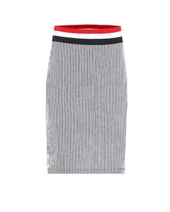 条纹棉质针织中长半身裙