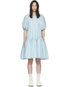 蓝色Alexa真丝连衣裙