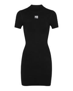 Black logo stretch-knit mini dress