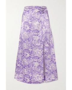 花卉印花缎布中长半身裙