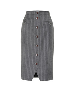 Quill wool and cotton-blend skirt