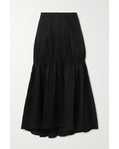 Anzio缩褶莱赛尔纤维棉质混纺中长半身裙