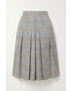 褶裥格纹梭织裙裤