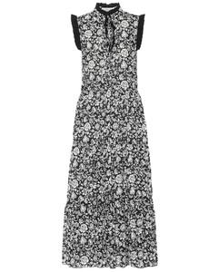 花卉棉质巴里纱中长连衣裙