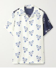 Flower Pot拼接印花真丝斜纹布衬衫