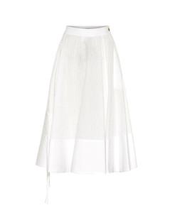 褶裥棉质混纺中长半身裙