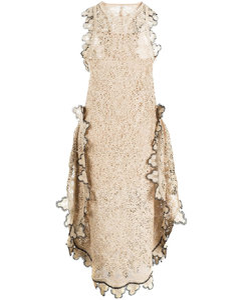扇贝边编织连衣裙