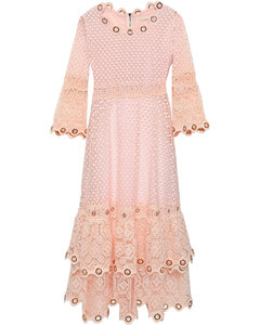 Woman Tiered Embellished Guipure Lace Dress