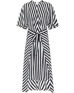 条纹真丝不对称中长连衣裙