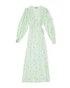 Print Silk-Stretch Wrap Dress