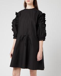 Women's Cotton Frilled Dress - Black