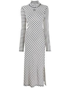 条纹logo刺绣中长连衣裙