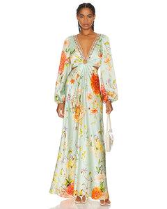Women's Ruffle Midi Dress with Cut Out Back - Blush