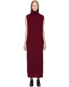 酒红色直筒连衣裙