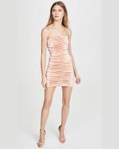 弹性金银线抽褶迷你连衣裙
