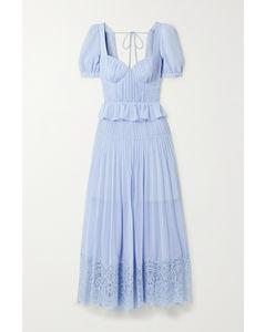 凸纹蕾丝细褶雪纺绸中长连衣裙
