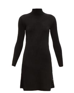 Logo-tab high-neck velvet dress