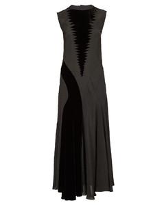 Velvet-panelled crepe maxi dress