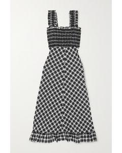 皱褶装饰格纹棉质混纺泡泡纱超长连衣裙