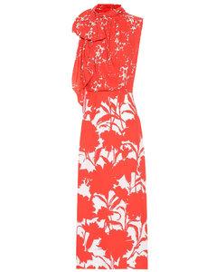 Floral-printed twill midi dress