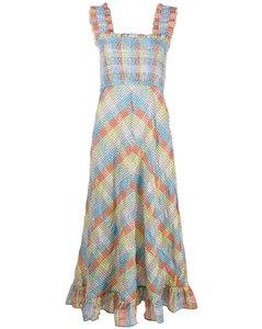 grid pattern flared dress