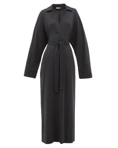 Polo-collar belted cotton-jersey shirtdress